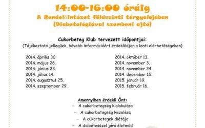 Cukorbeteg klub tervezett időpontjai