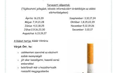 Dohányzásról való leszokást támogató klub 2014-es időpontok